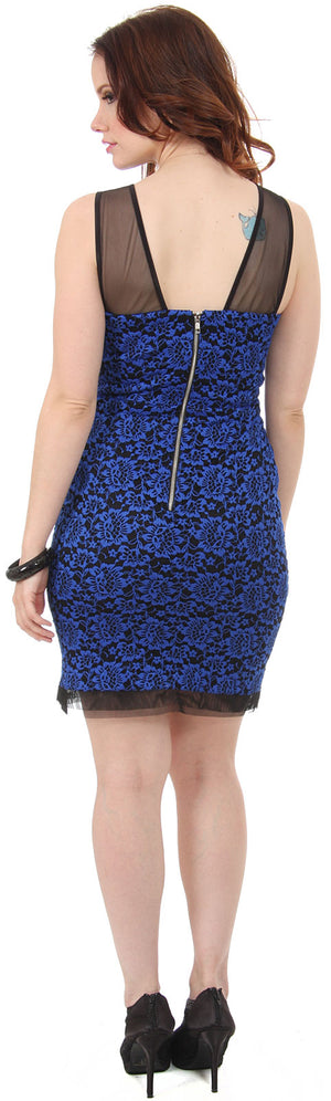 Image of Floral Lace Short Party Dress With Mesh Trim back in Royal Blue