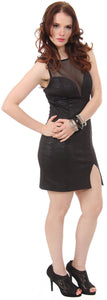 Main image of Embossed Short Cocktail Party Dress With Mesh At Bust