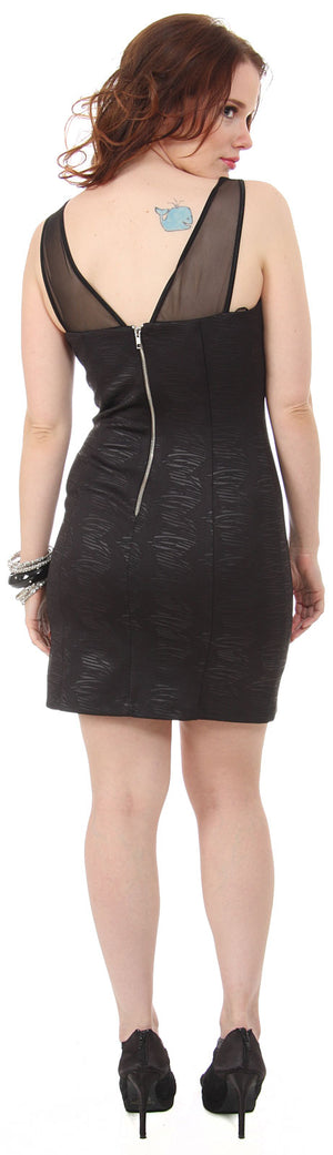 Back image of Embossed Short Cocktail Party Dress With Mesh At Bust