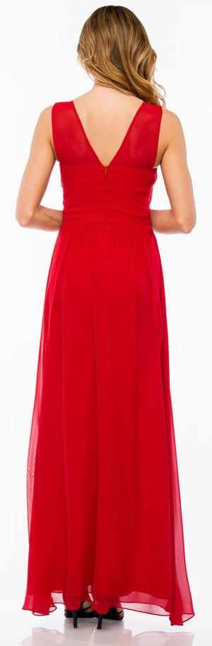 Back image of Semi Sheer Top Chiffon Long Formal Bridesmaid Dress