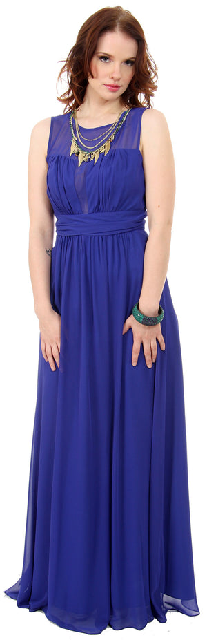 Image of Semi Sheer Top Chiffon Long Formal Bridesmaid Dress in alternative picture