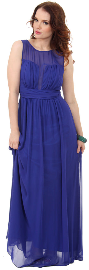 Image of Semi Sheer Top Chiffon Long Formal Bridesmaid Dress in Royal Blue