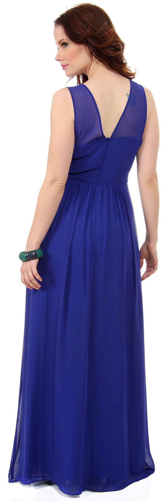 Image of Semi Sheer Top Chiffon Long Formal Bridesmaid Dress back in Royal Blue