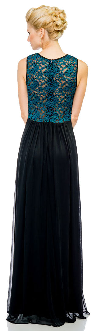 Back image of See-thru Lace Back Long Formal Dress With Twist Knot