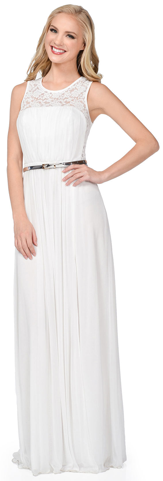 Main image of Sheer Lace Top Waist Belt Long Bridesmaid Dress
