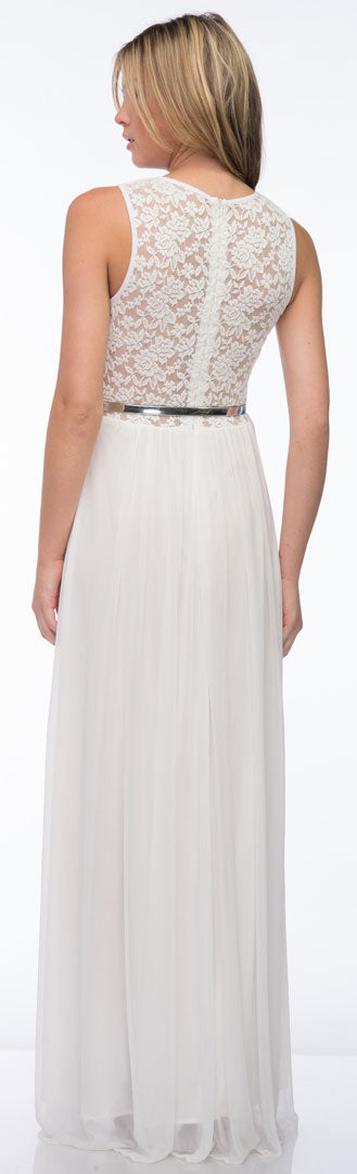 Back image of Sheer Lace Top Waist Belt Long Bridesmaid Dress