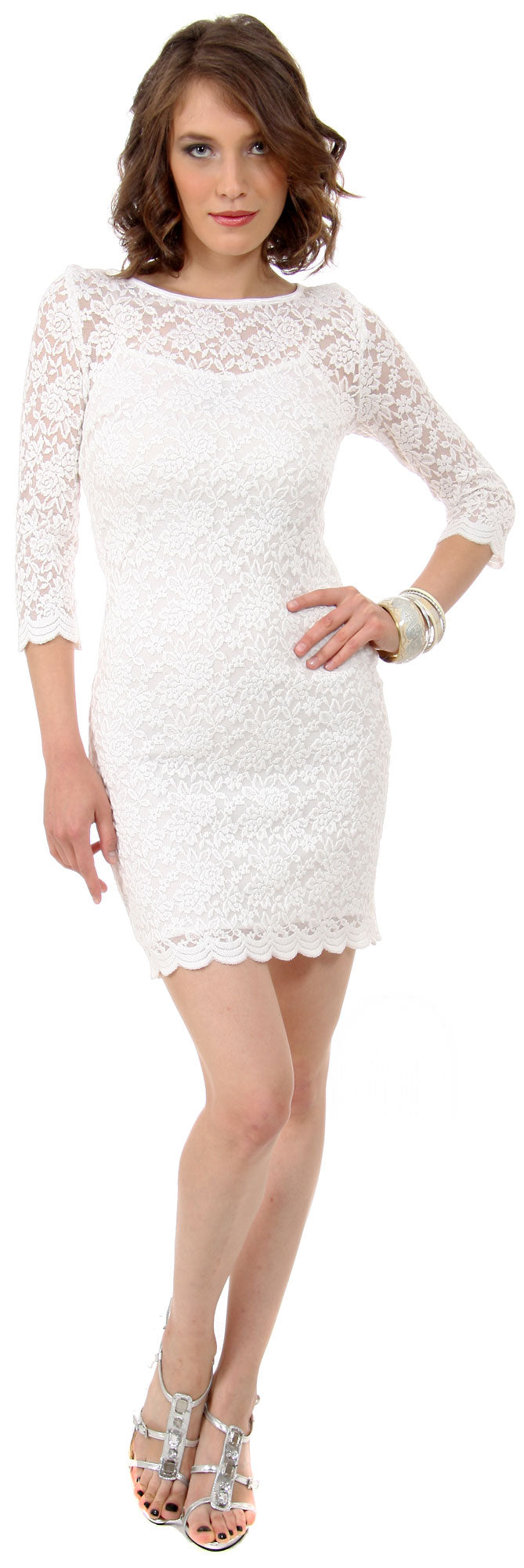 Image of Floral Pattern Lace Short Party Dress With 3/4 Sleeves in Ivory