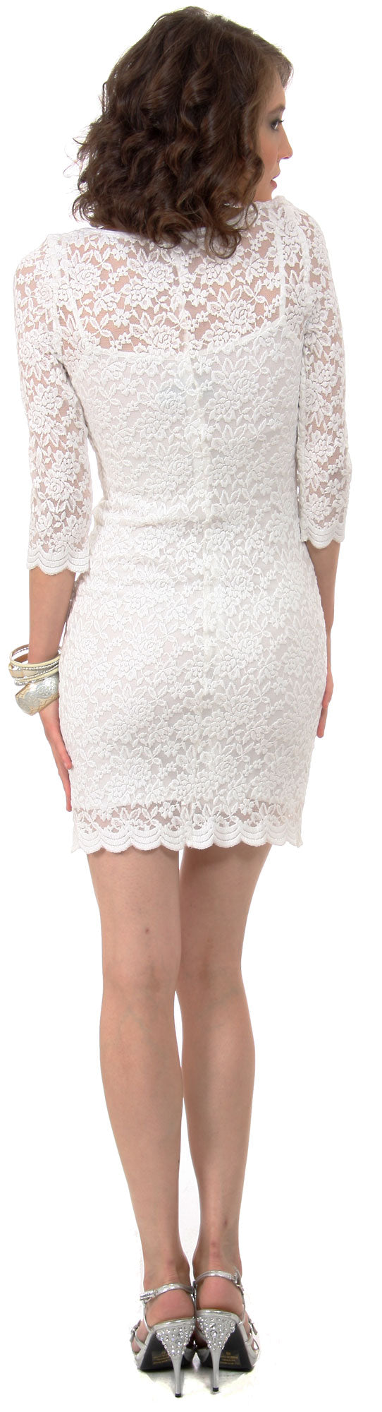 Image of Floral Pattern Lace Short Party Dress With 3/4 Sleeves back in Ivory