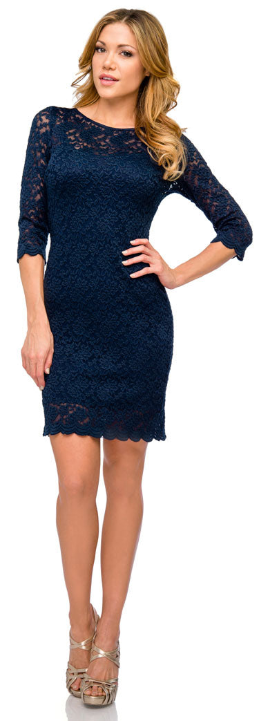 Image of Floral Pattern Lace Short Party Dress With 3/4 Sleeves in an alternative picture
