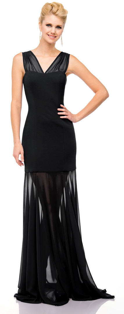 Main image of V-neck Floor Length Sheer Skirt Formal Evening Dress