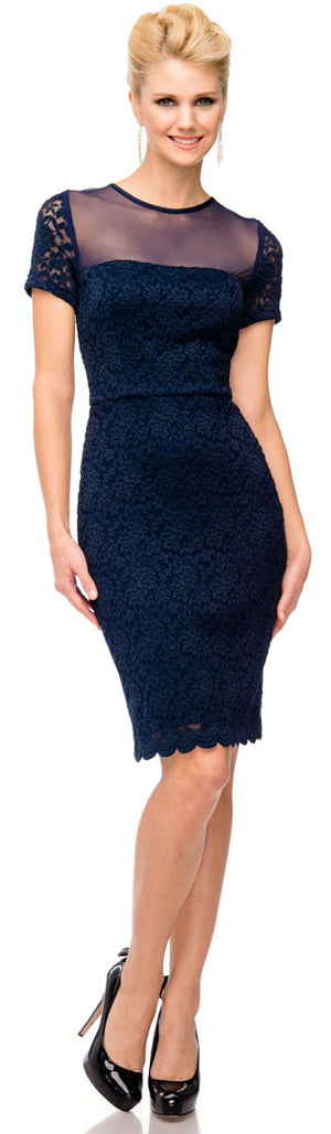 Image of Short Sleeves Form Fitting Short Formal Party Dress In Lace in Navy