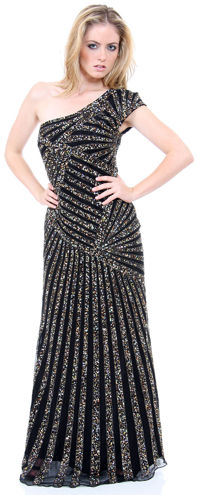 Main image of Full Length Sophisticated Sequined Evening Gown