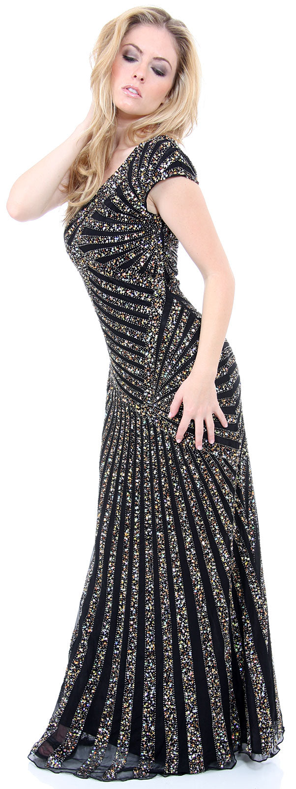 Image of Full Length Sophisticated Sequined Evening Gown in alternative image