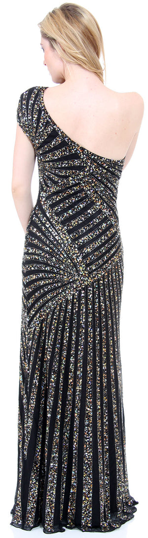 Back image of Full Length Sophisticated Sequined Evening Gown