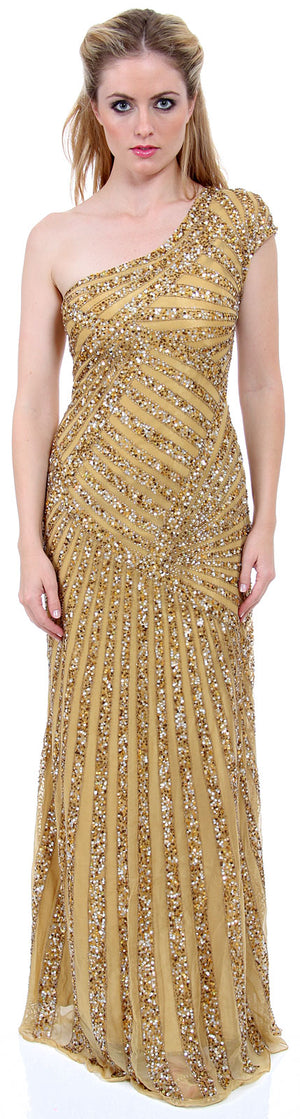 Image of Full Length Sophisticated Sequined Evening Gown in Gold color