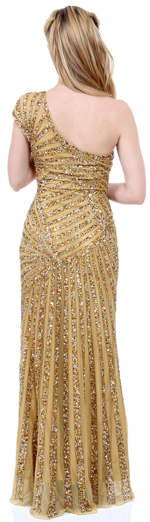 Image of Full Length Sophisticated Sequined Evening Gown back in Gold