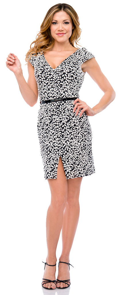 Main image of V-neck Short Jacquard Party Dress With Cap Sleeves