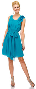 Main image of Pleated Short Party Dress With Floral Shoulder & Waist Sash