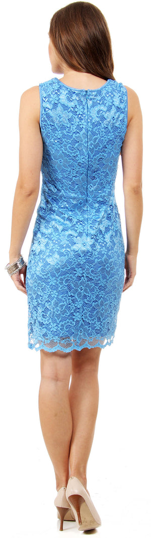 Image of Floral Lace Cutout Short Bridesmaid Party Dress back in Periwinkle