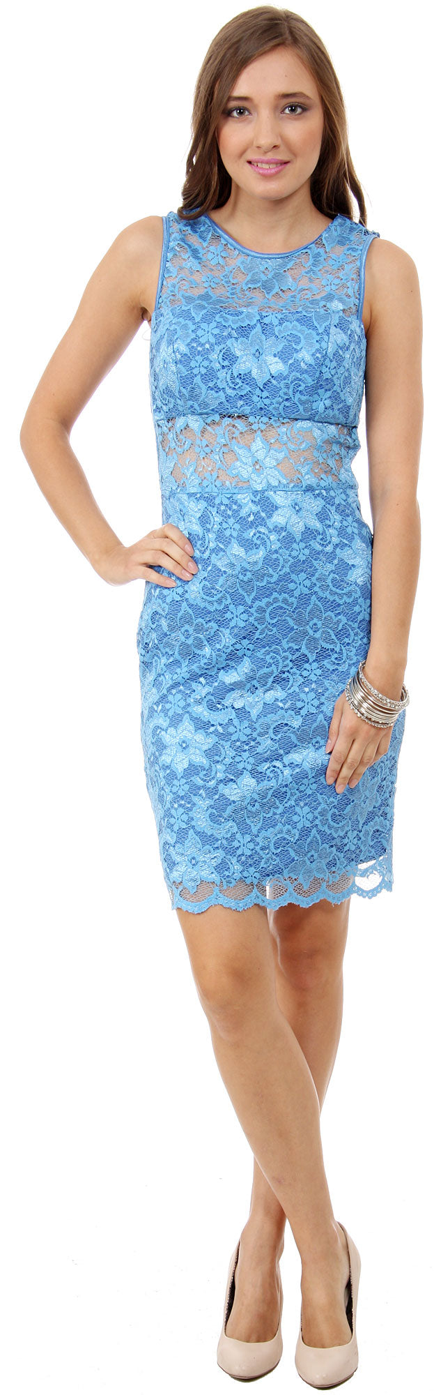 Image of Floral Lace Cutout Short Bridesmaid Party Dress in Periwinkle