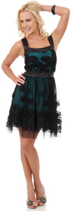 Image of Rosette Pattern Short Formal Party Dress In Mesh in Black/Teal