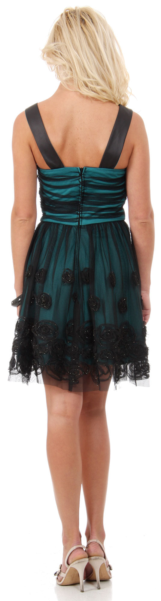 Image of Rosette Pattern Short Formal Party Dress In Mesh back in Black/Teal