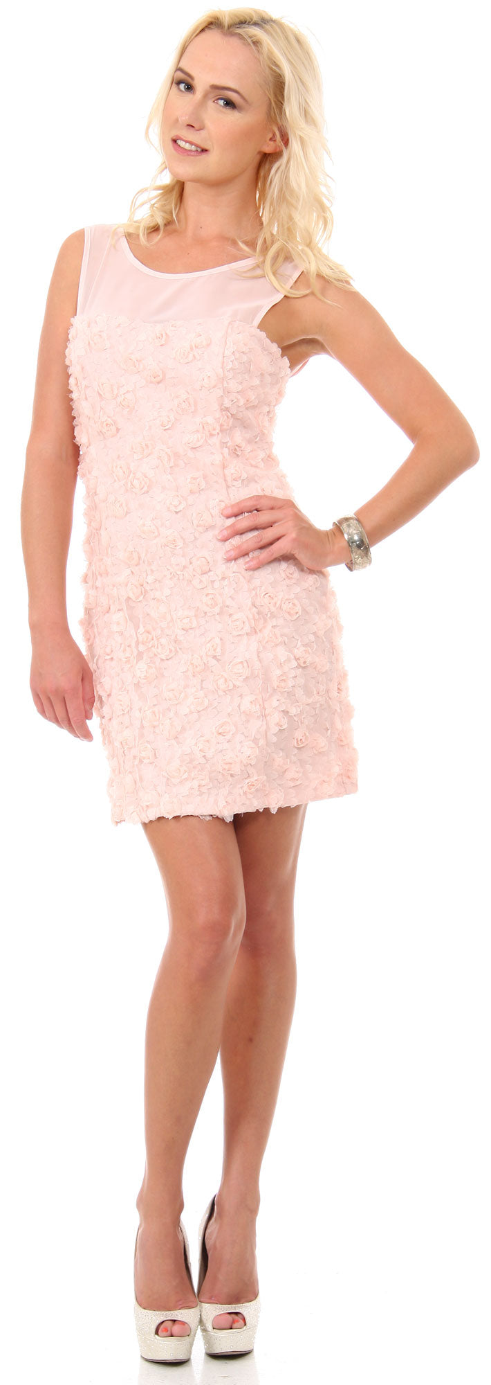 Main image of Rosette Short Party Dress With Sheer Neckline