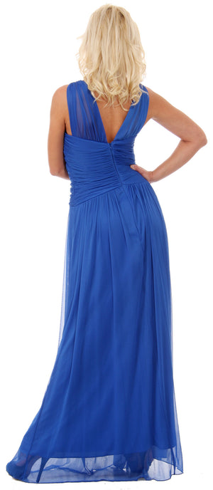 Back image of Ruched Bodice Long Formal Bridesmaid Evening Dress