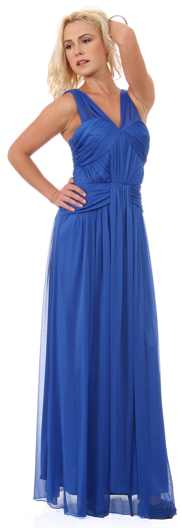 Main image of Ruched Bodice Long Formal Bridesmaid Evening Dress