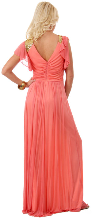 Image of Ruffle Sleeves Long Formal Bridesmaid Dress With Sequins back in Coral