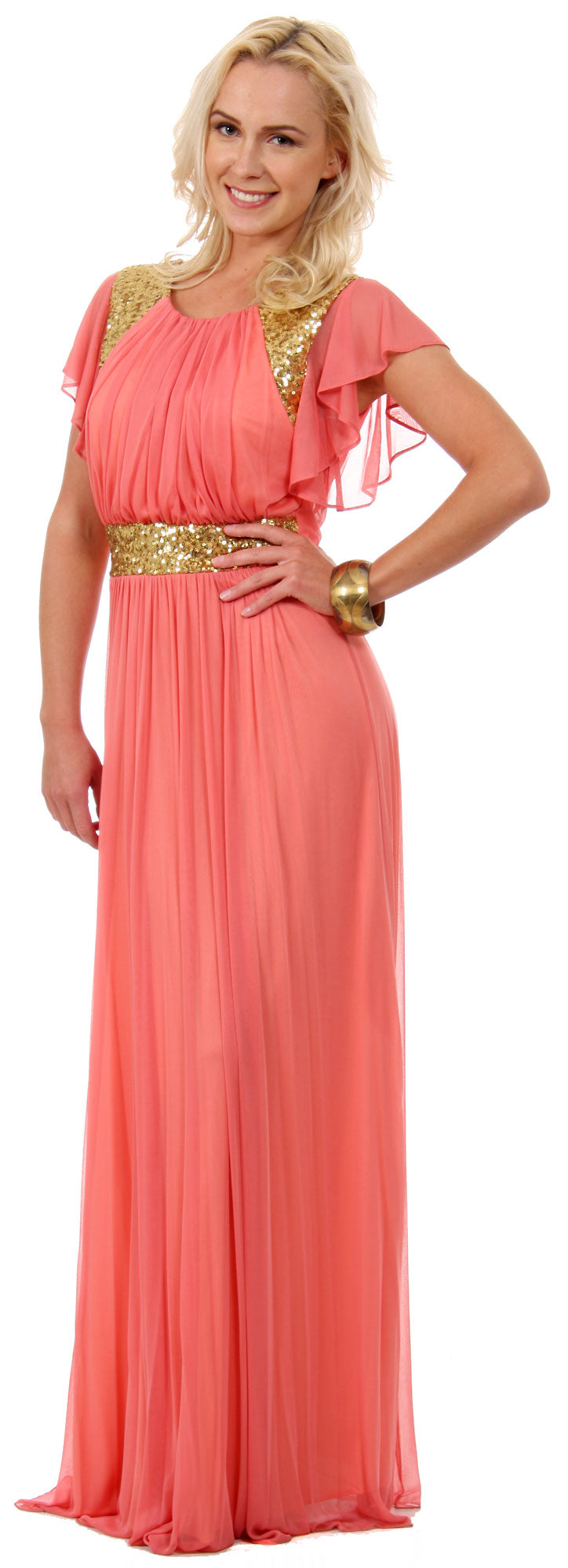 Image of Ruffle Sleeves Long Formal Bridesmaid Dress With Sequins in Coral