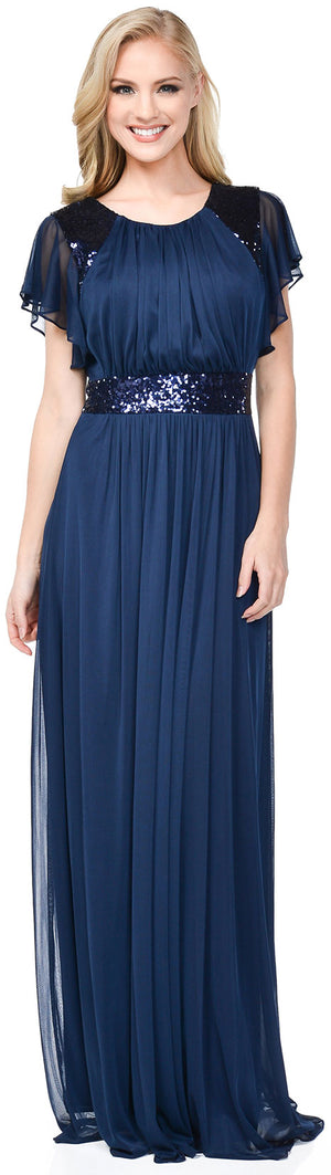 Main image of Ruffle Sleeves Long Formal Bridesmaid Dress With Sequins