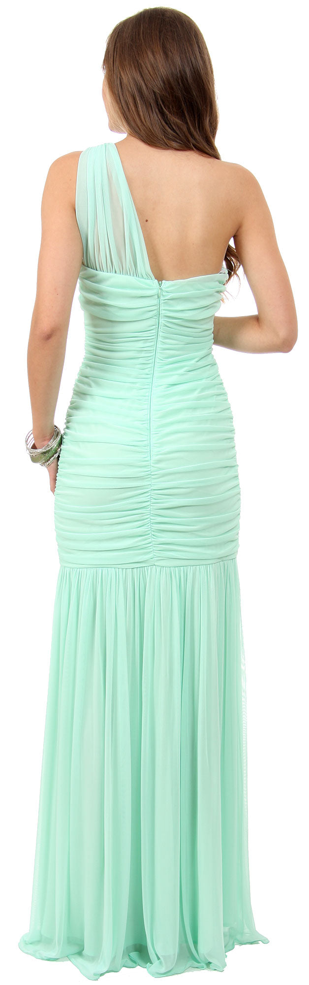 Image of One Shoulder Shirred Mermaid Style Long Formal Prom Dress back in Mint