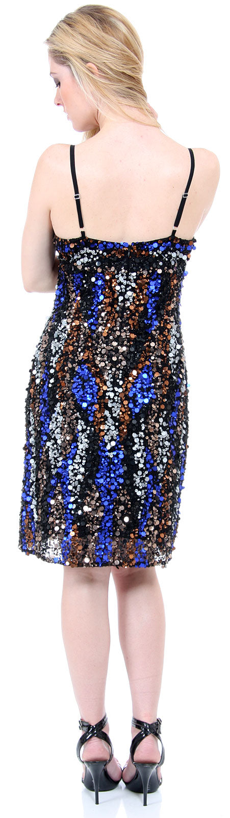 Back image of Fully Sequined Spaghetti Strap Party Dress