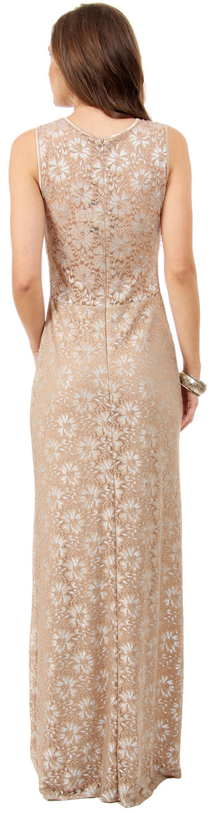Image of Floral Metallic Lace Long Formal Bridesmaid Dress back in Taupe