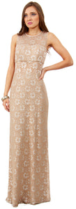 Image of Floral Metallic Lace Long Formal Bridesmaid Dress in Taupe