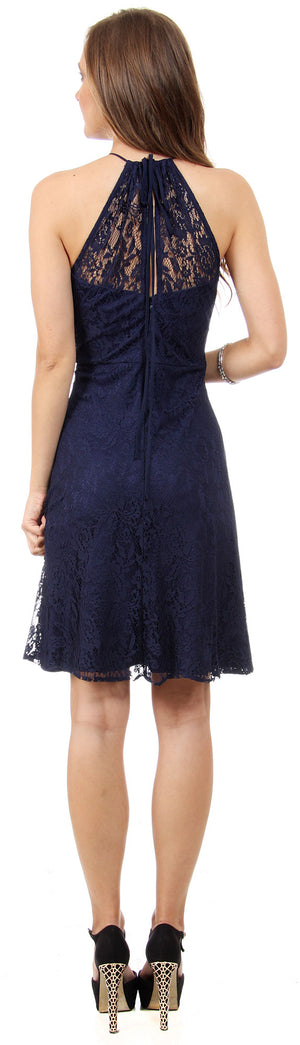 Image of Halter Neck Floral Lace Short Bridesmaid Party Dress back in Navy