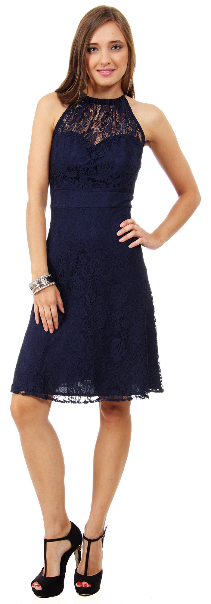 Image of Halter Neck Floral Lace Short Bridesmaid Party Dress in Navy