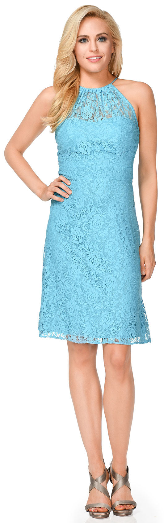Main image of Halter Neck Floral Lace Short Bridesmaid Party Dress