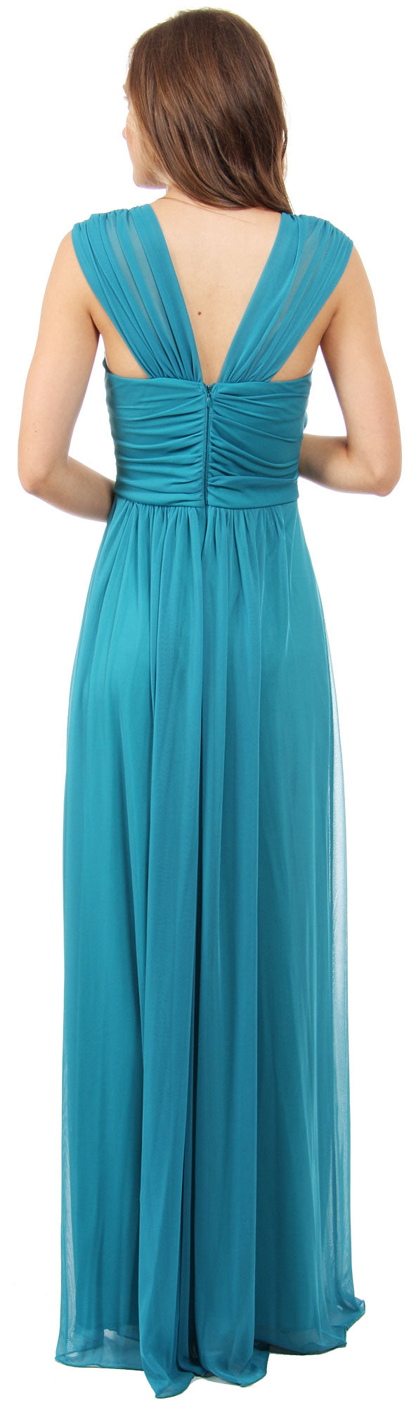 Image of Scoop Neck Broad Straps Shirred Long Formal Bridesmaid Dress back in Jade Green