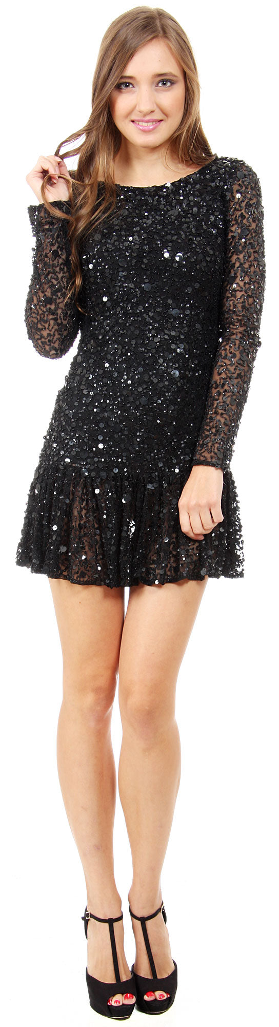 Main image of Full Sleeves Flared Skirt Sequined Mini Party Dress
