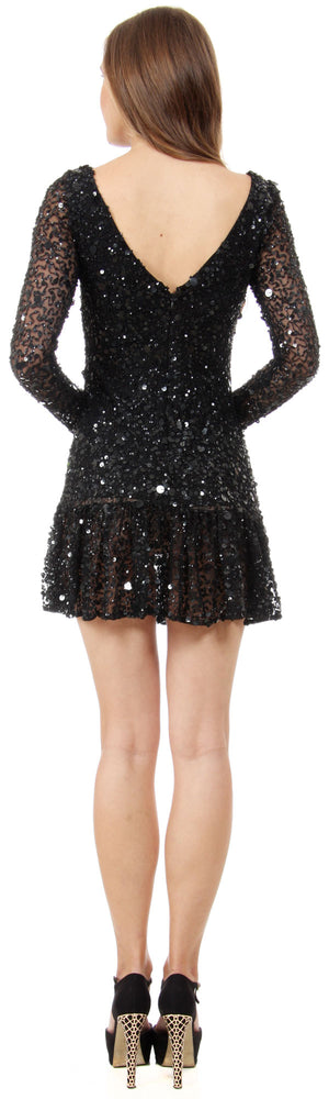 Back image of Full Sleeves Flared Skirt Sequined Mini Party Dress