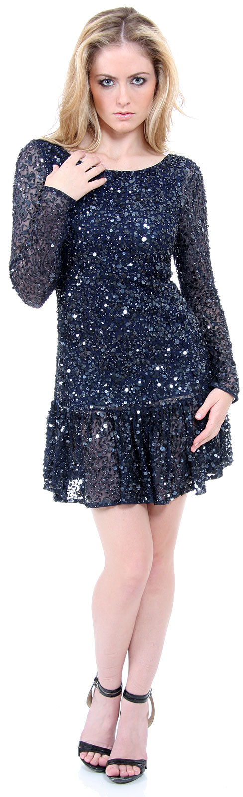 Image of Full Sleeves Flared Skirt Sequined Mini Party Dress in Navy