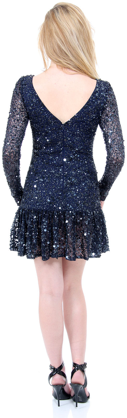 Image of Full Sleeves Flared Skirt Sequined Mini Party Dress back in Navy