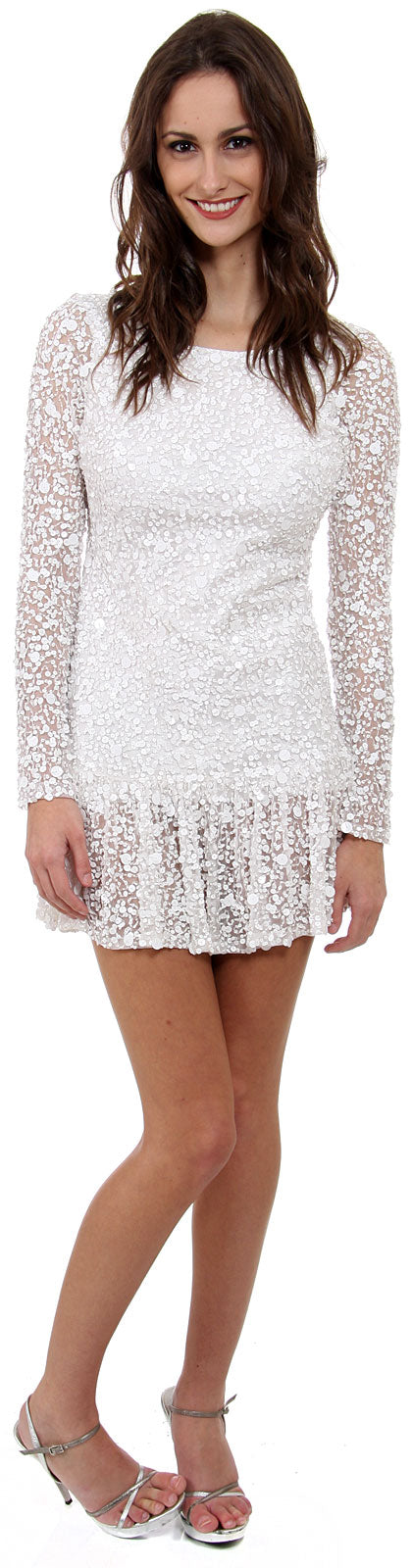 Image of Full Sleeves Flared Skirt Sequined Mini Party Dress in White
