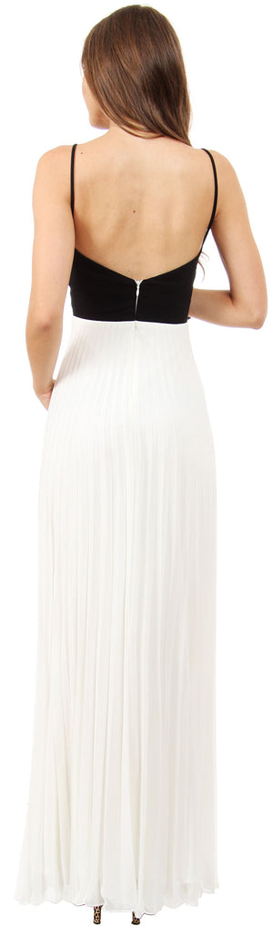 Back image of Spaghetti Straps Pleated Skirt Long Formal Bridesmaid Dress