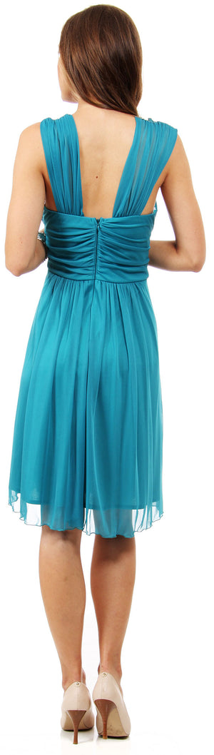 Image of Scoop Neck Broad Shirred Short Bridesmaid Party Dress back in Jade Green