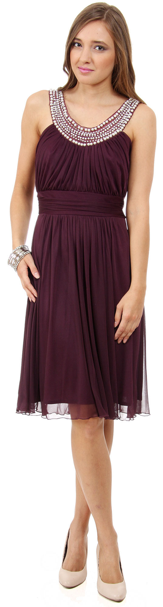 Image of U-neck Short Party Dress With Pearls & Diamond Accent in Plum
