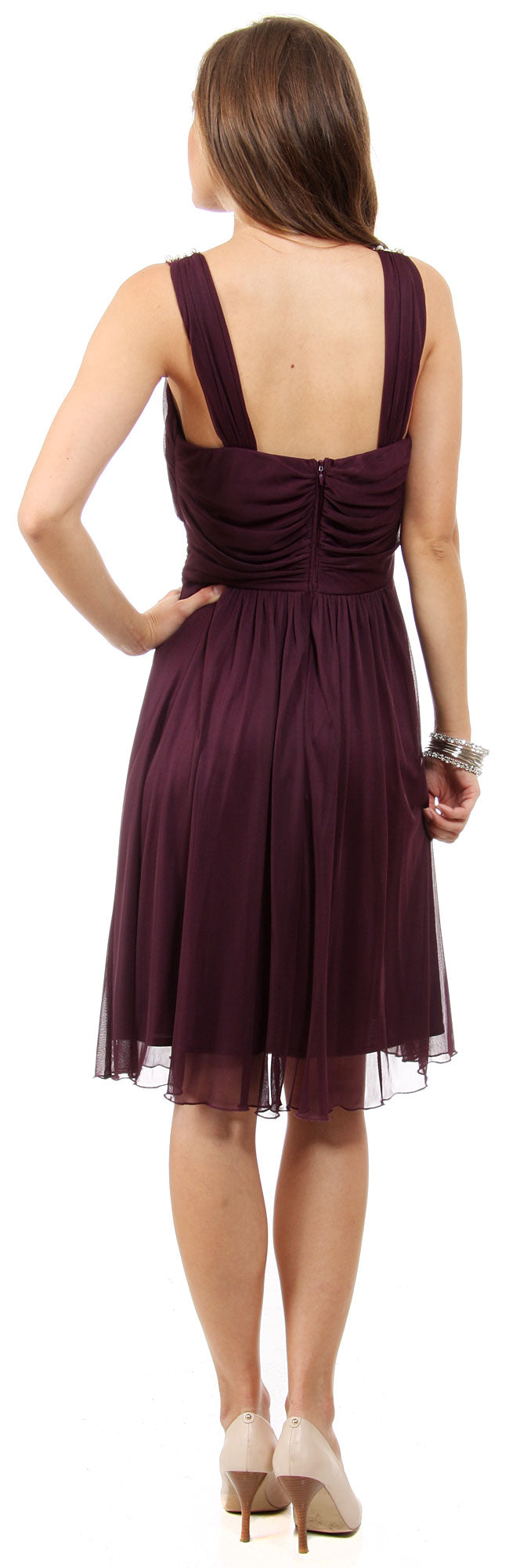 Image of U-neck Short Party Dress With Pearls & Diamond Accent back in Plum