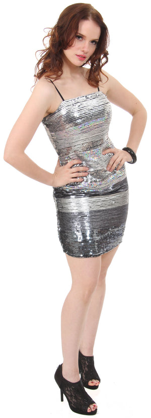 Image of Horizontal Pattern Sequins Homecoming Party Dress  in alternative picture
